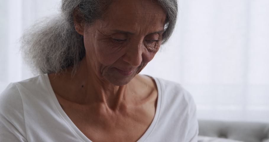 Zooming On Middle Age Woman With Headache Stock Footage
