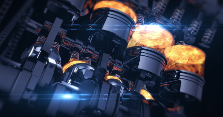 Rotating V8 Engine 3D Animation With Explosions. Pistons And Other Mechanical Parts Are In Motion. Royalty-Free Stock Footage #1037589596