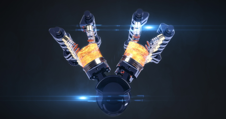 Power Hungry Rotating V8 Engine Producing Power. CG Animation. Pistons And Other Mechanical Parts Are In Motion With Explosions. Royalty-Free Stock Footage #1037589611