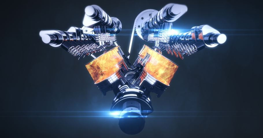 V8 Engine Animation With Explosions - Camera Slowly Moving. Pistons And Other Mechanical Parts Are In Motion With Explosions.