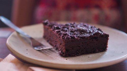Close up eatting chocolate brownie