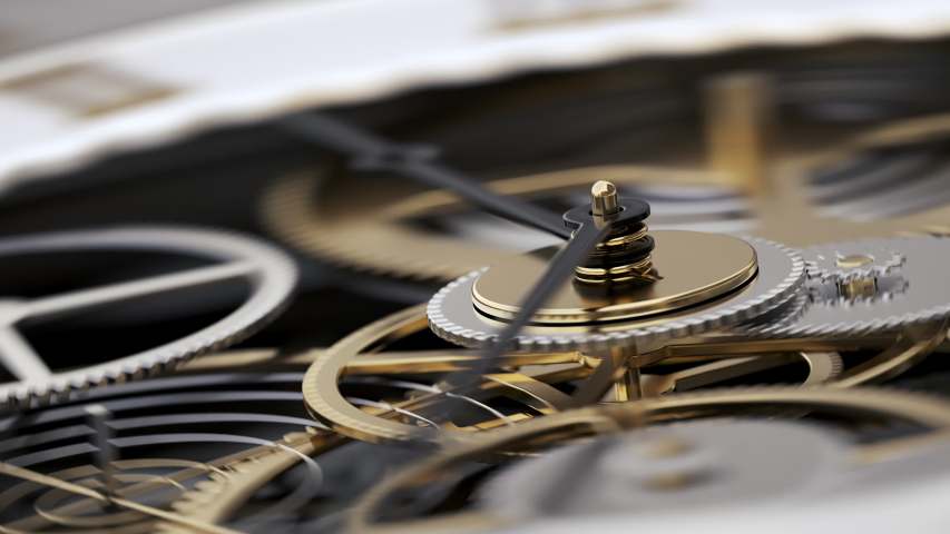 Macro Shot Clock Face and Internal Working Mechanism with Rapidly Rotating Arrow and Gears. Metaphor Time is Money or Life is Fleeting. 4k Realistic Animated Watch Close-up View with Depth of Field