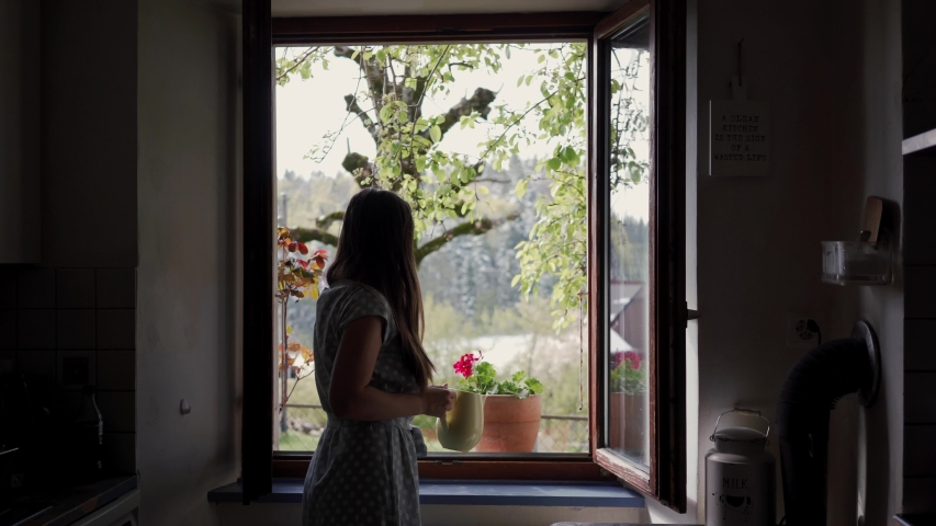 Beautiful happy young woman watering the flower in the kitchen at home with white watering pot | Shutterstock HD Video #1037601869