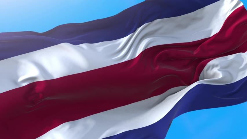 Costa Rica flag video waving in wind 4K. Realistic Costa Rican background. Costa Rica background looping 3840x2160 px. | Shutterstock HD Video #1037636411