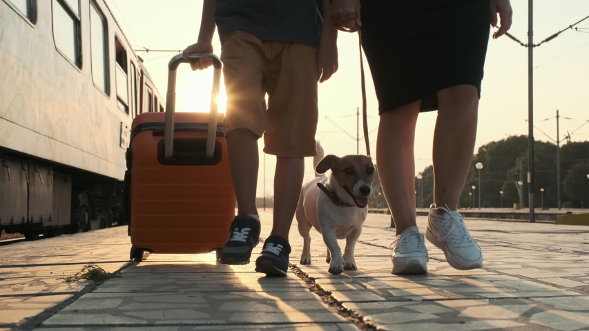 Happy boy an orange suitcase with woman dog Jack Russell walk along the platform of train station, to train in the rays of a bright sunset summer slow motion. Family goes on a trip. Travel. Tourism | Shutterstock HD Video #1037638727
