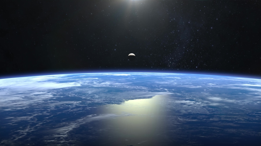 Planet earth and moon. View from space. Flight over the Earth. The moon is moving up. 4K. The camera moves forward. | Shutterstock HD Video #1037676380