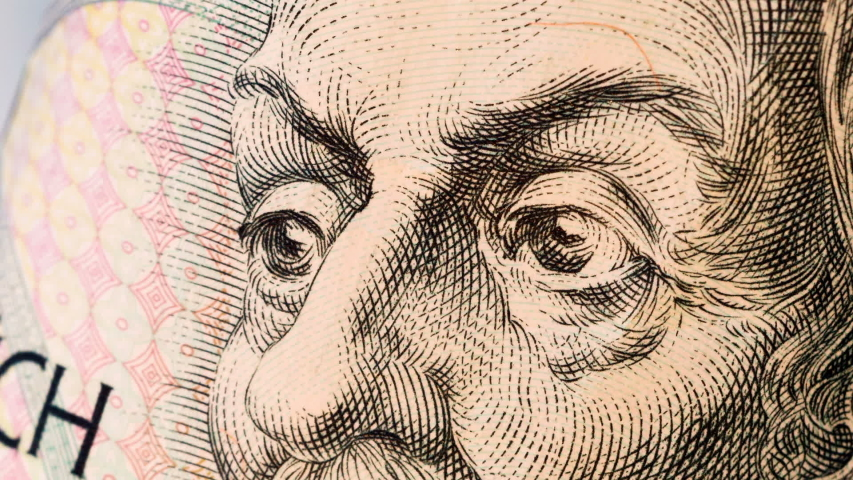Eyes from portraits painted on money. Currency stop motion. World money detail. | Shutterstock HD Video #1037679701