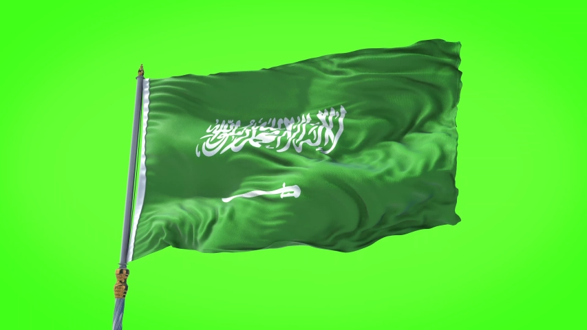 Saudi Arabia flag waving in slow motion animation of the National Flag of Saudi Arabia waving on the wind. Seamless Loop. 4K, Ultra HD resolution. Rectangle flag style. 30sec video, Green background