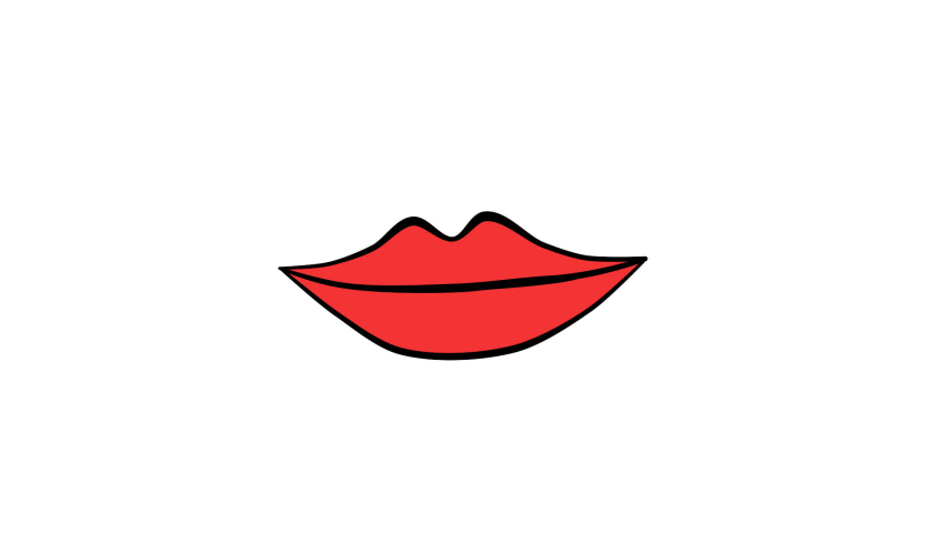Red lips. Animated mouth speaks. Alpha channel. 2D animation