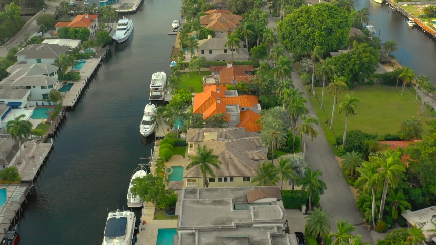 Aerial tour luxury real estate Fort Lauderdale Florida   Shutterstock HD Video #1037690849