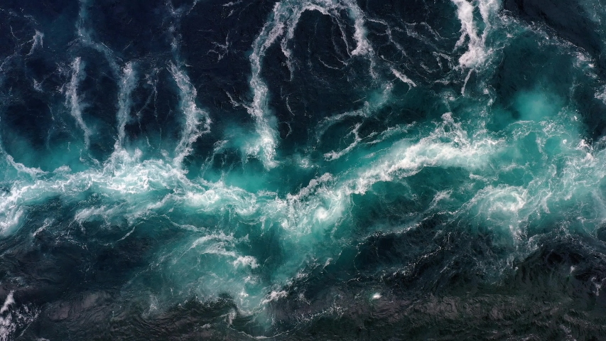 Waves of water of the river and the sea meet each other during high tide and low tide. Whirlpools of the maelstrom of Saltstraumen, Nordland, Norway Royalty-Free Stock Footage #1037708453