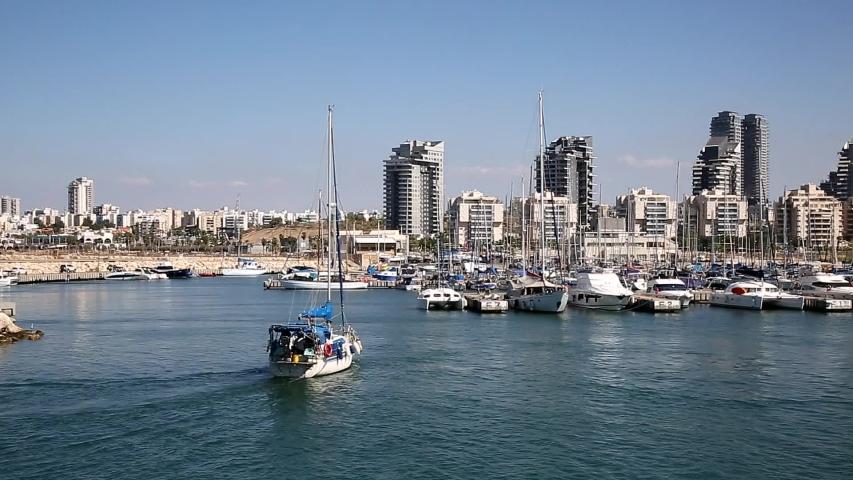 Ashdod Marina: Ashdod Marina With Skyline In The Background In Israel