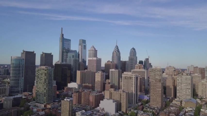 Philadelphia/Pennsylvania  09/17/2019 video from Philadelphia,taken by drone camera,in this video we can watch the skyscraper skyline in philadelphia
