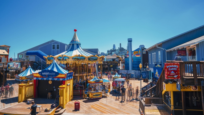 SAN FRANCISCO, CALIFORNIA - MAY 14, 2019: Time Lapse view of the Pier 39 fisherman's wharf carousel in San Francisco. Pier 39 is a famous tourist spot in San Francisco area.