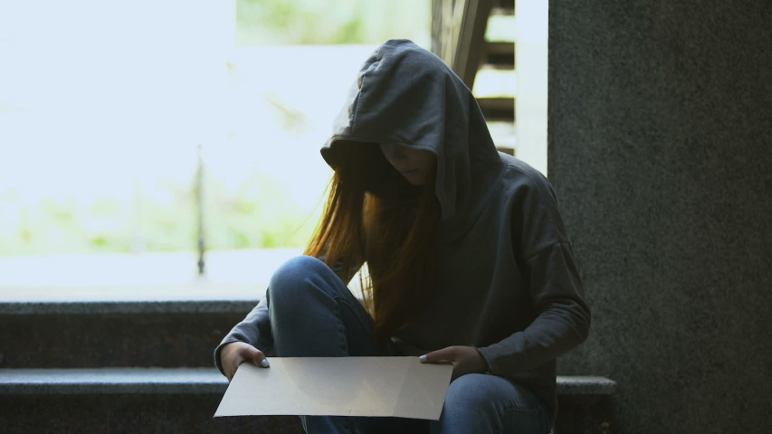 Homeless teenage girl in hoodie showing help sign on stairs, social insecurity   Shutterstock HD Video #1037744012