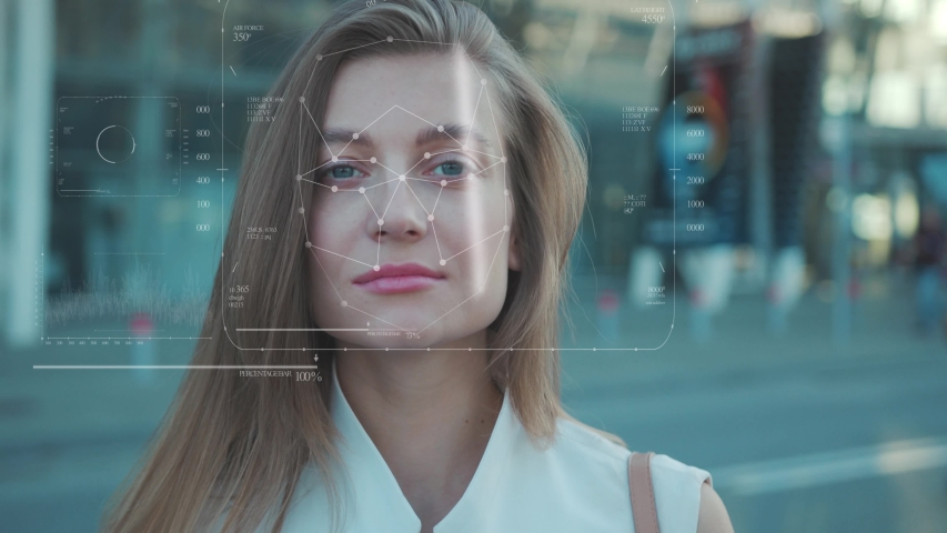 Future. Face Detection. Technological 3d Scanning. Biometric Facial Recognition. Face Id. Technological Scanning Of The Face Of Beautiful Caucasian Girl In The City For Facial Recognition. Shoted By Royalty-Free Stock Footage #1037770934