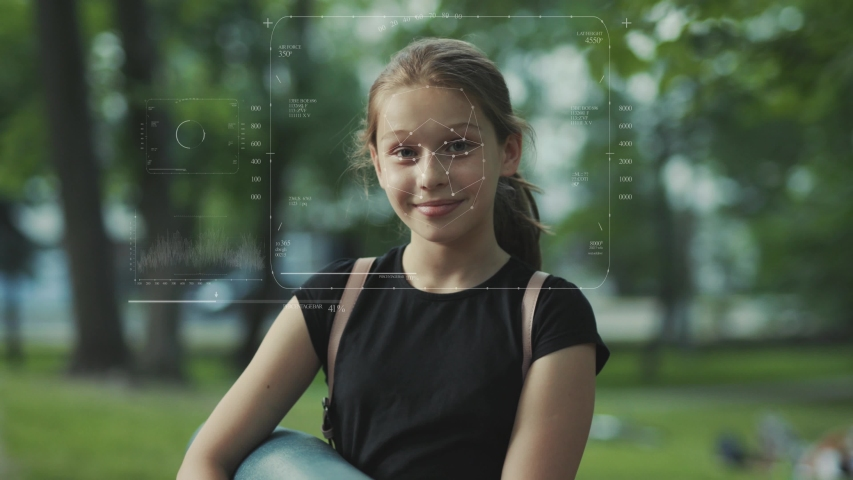 Future. Face Detection. Technological 3d Scanning. Biometric Facial Recognition. Face Id. Technological Scanning Of The Face Of Beautiful Caucasian Child In The Park For Facial Recognition. Shoted By Royalty-Free Stock Footage #1037770952