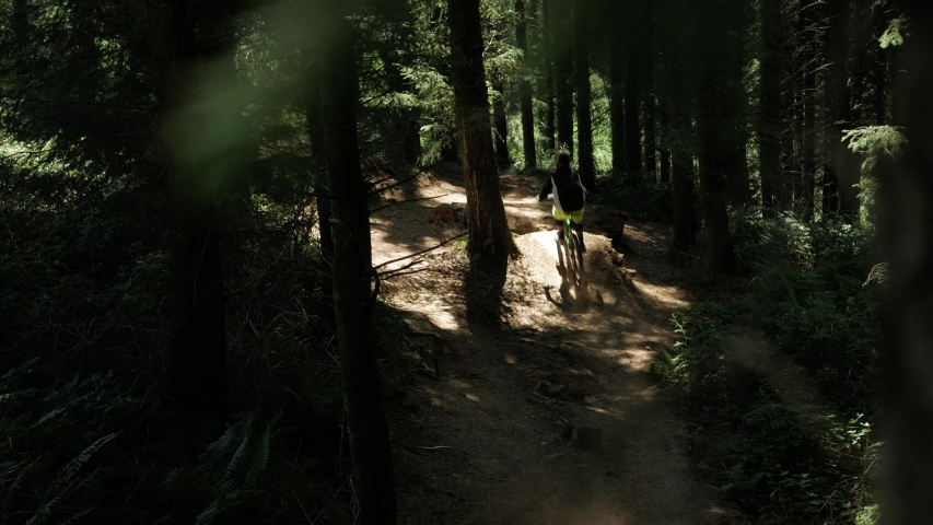 Barnstaple / United Kingdom (UK) - 05 20 2019: Mountain bike professional drives through the forest and brakes. Close Up Shot