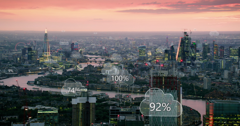 Aerial smart city. Network connections and cloud computing icons with percentages. Technology concept, data communication, artificial intelligence, internet of things. London, England. Shot on Red 8K. Royalty-Free Stock Footage #1037797037
