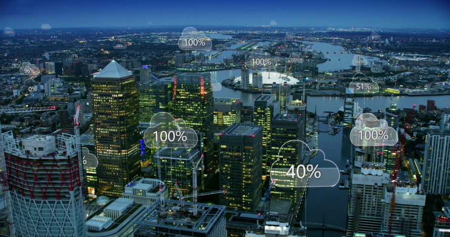 Cloud computing icons with percentages over an aerial view of London. Technology concept, data communication, artificial intelligence, internet of things.  Network connections in a smart city skyline. Royalty-Free Stock Footage #1037797043