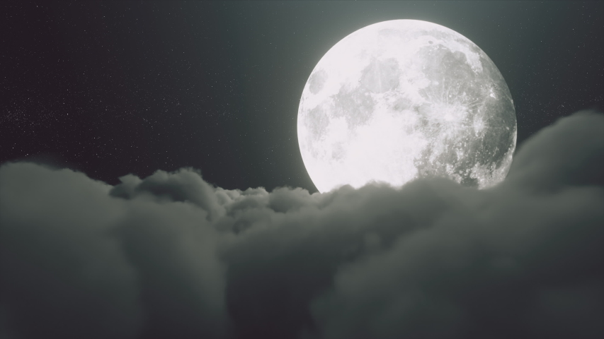 Beautiful realistic flight over cumulus lush clouds in the night moonlight. A large full moon shines brightly on a deep starry night. Cinematic scene. Seamless loop 3d render