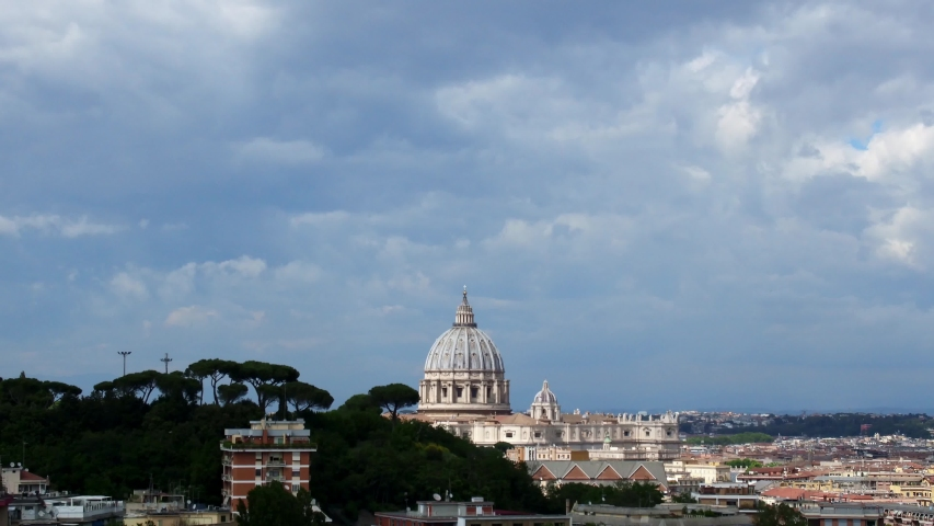 Dome of St. Peter, Vatican City, Rome. Time lapse, changeable weather, sunny to cloudy, may 2019 | Shutterstock HD Video #1037805620