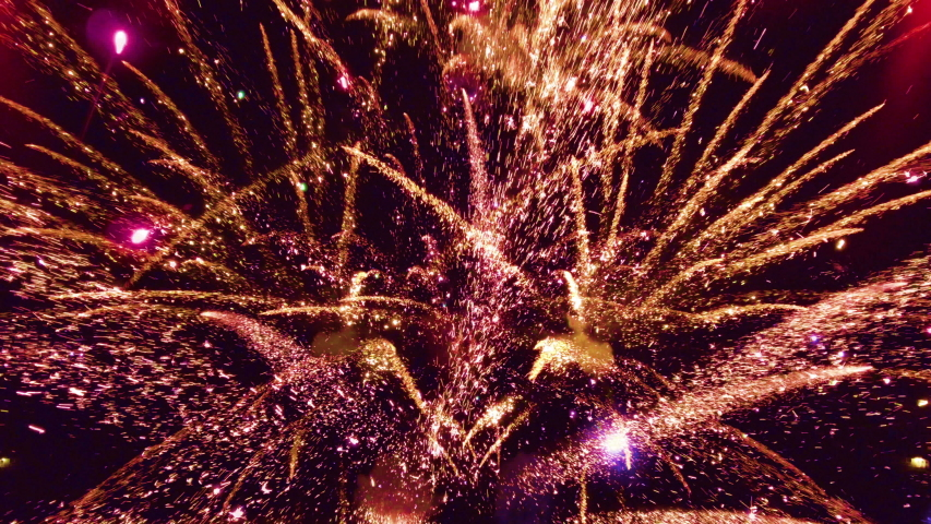 Fireworks at New Year 2020 and copy space - abstract holiday background  Royalty-Free Stock Footage #1037806583