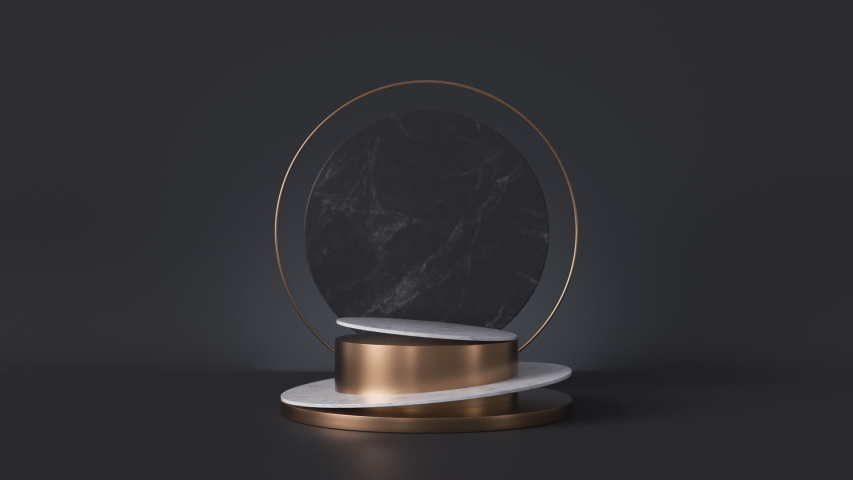 Cycled loop animation, white pedestal isolated on black background, looped rotating round marble stone slab, blank shop display, fashion podium, cylinder steps, abstract minimal spinner memorial board | Shutterstock HD Video #1037808308