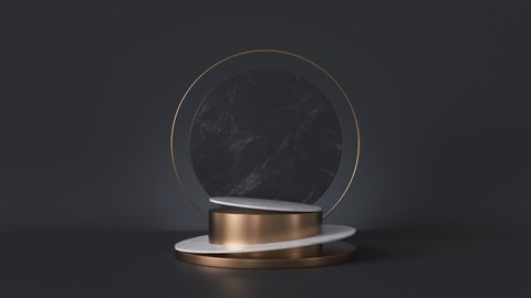 cycled loop animation, white pedestal isolated on black background, looped rotating round marble stone slab, blank shop display, fashion podium, cylinder steps, abstract minimal spinner memorial board