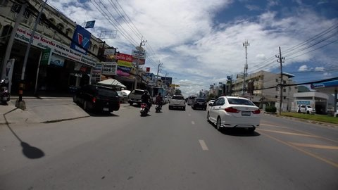 Pranburi , Hua Hin / Thailand - 07 21 2019: Pranburi to Hua Hin and Hua Hin to Bangkok: On the Road Time-lapse