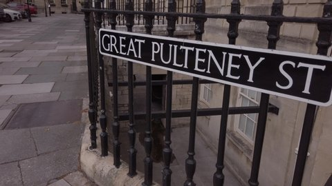 Great Pulteney Street, Bath. Street sign. Track back to reveal sign. Cloudy, but bright.