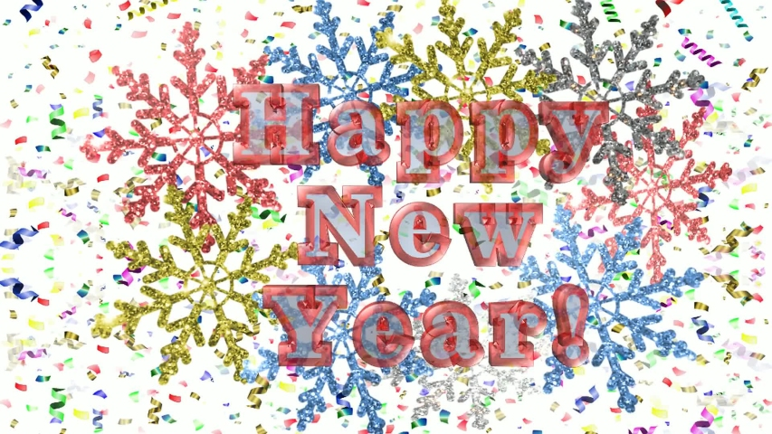 """Beautiful video, white snowflakes on a shiny background with the inscription """"Happy new year"""" 
