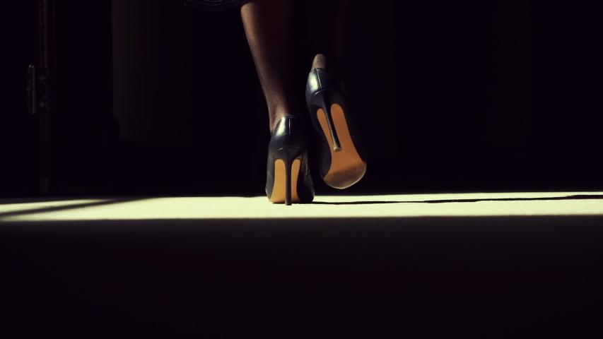 Following Shot of Silhouette of Female Legs in High Heels Shoes Walking Along Dark Hallway. Black and White Slow Motion. Beautiful Scene of Woman Walking Gracefully. | Shutterstock HD Video #1037833757