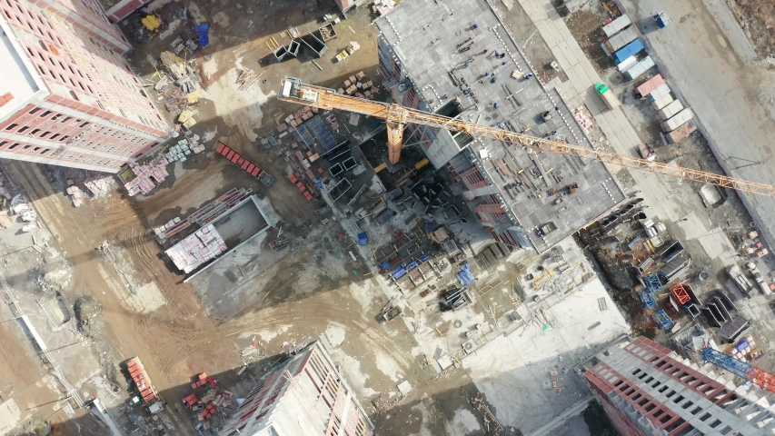Russia, Ekaterinburg. District Academic. Construction of new buildings on the outskirts of the district, Aerial View, HEAD OVER SHOT #1037836334