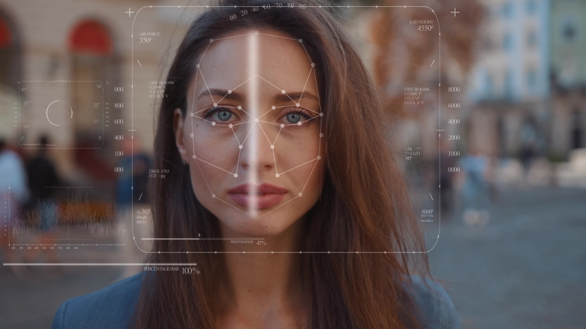 Future. Face Detection. Technological 3d Scanning. Biometric Facial Recognition. Face Id. Technological Scanning Of The Face Of Beautiful Caucasian Woman In The City For Facial Recognition. Shoted By | Shutterstock HD Video #1037847965