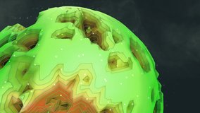 Green and Orange Alien Planet in space rotating 3D animation. Clip contains space, strange topographical planet, cosmos, globe. Great 4k projection map or kids show.