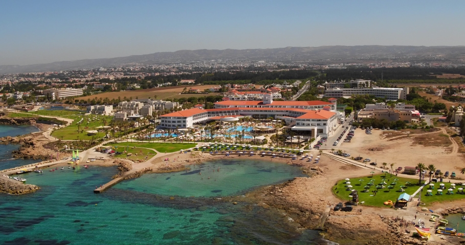 Aerial shots of resorts and beaches of Paphos, Cyprus.