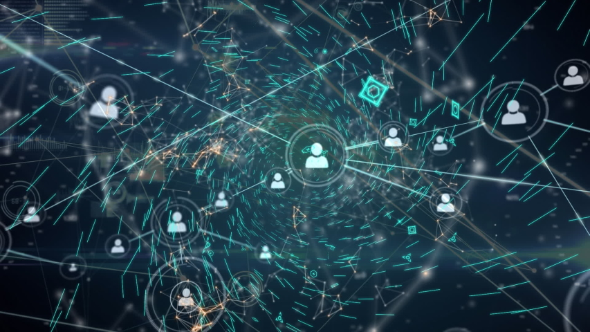 Animation of a global network and data connections on a dark green background | Shutterstock HD Video #1037924933