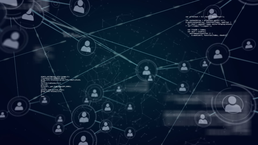 Animation of a global network and data connections with data processing on a dark blue background | Shutterstock HD Video #1037933831