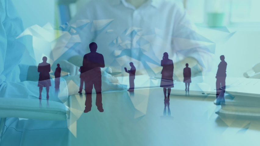 Animation of Caucasian businessmen shaking hands and signing documents in an office with silhouettes of business people standing in the foreground | Shutterstock HD Video #1037935853