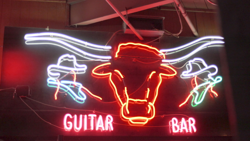 Fort Worth, Texas - September 26 2019: Billy Bob's Neon Signs, Guitar Bar