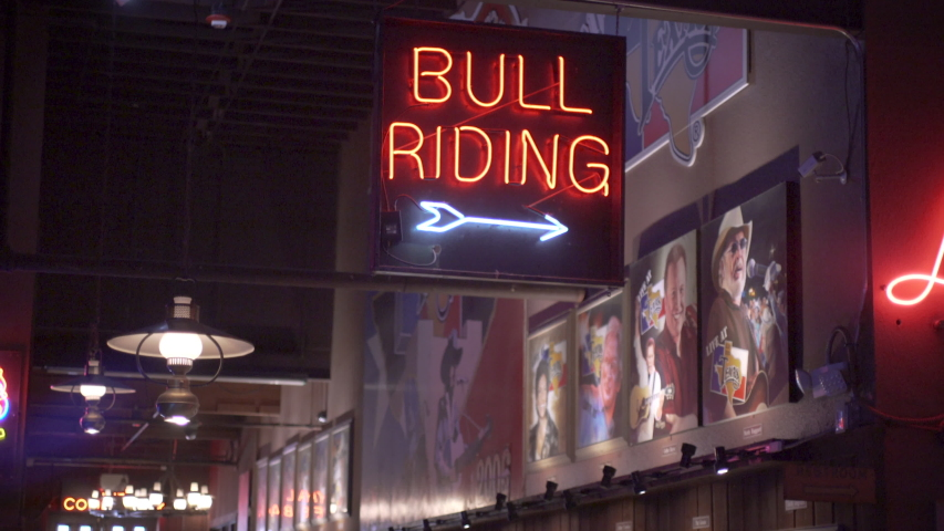 Fort Worth, Texas - September 26 2019: World Famous Billy Bob's Texas, Bull Riding Neon Sign