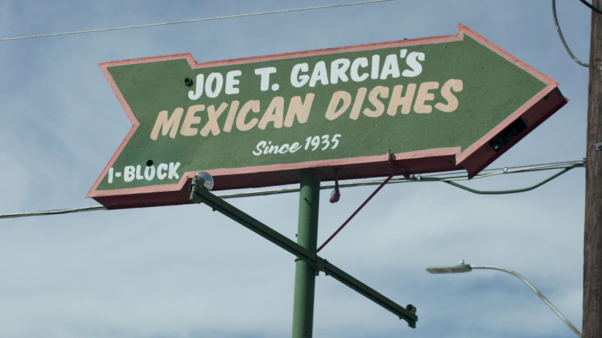 Fort Worth, Texas - September 26 2019: Joe T. Garcia's Mexican Dishes sign
