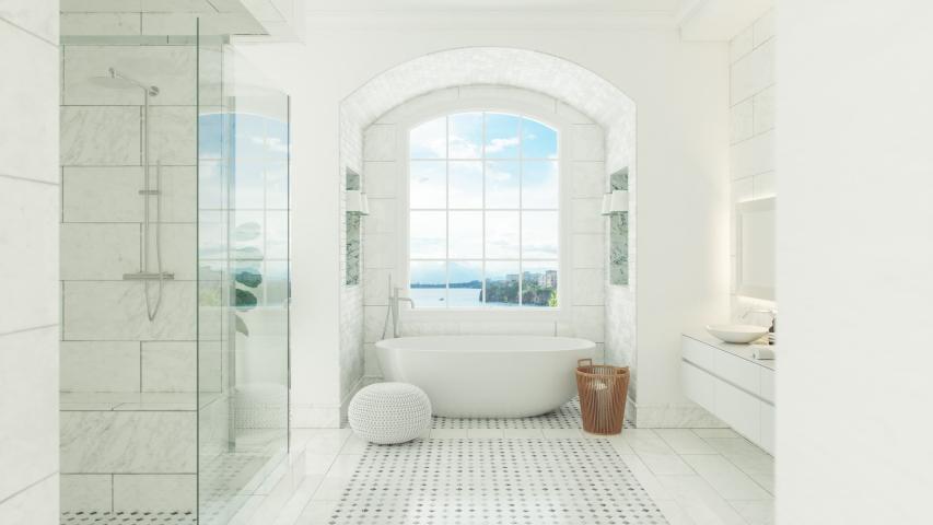 Luxury White Bathroom Interior With Beautiful View
