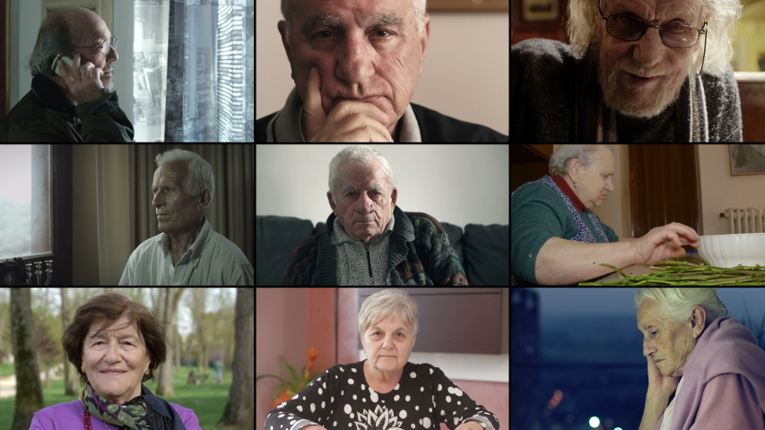 Mulstiscreen of different close up on old man and old woman | Shutterstock HD Video #1037942597