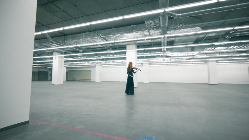 Female musician is playing the violin in an empty hall | Shutterstock HD Video #1037943002
