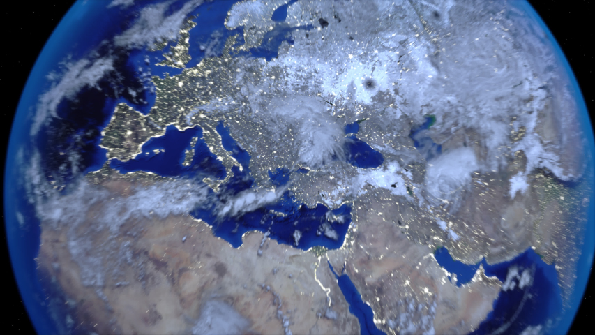 Zoom out of Turkey through clouds to see the Earth from space. Royalty-Free Stock Footage #1037953583