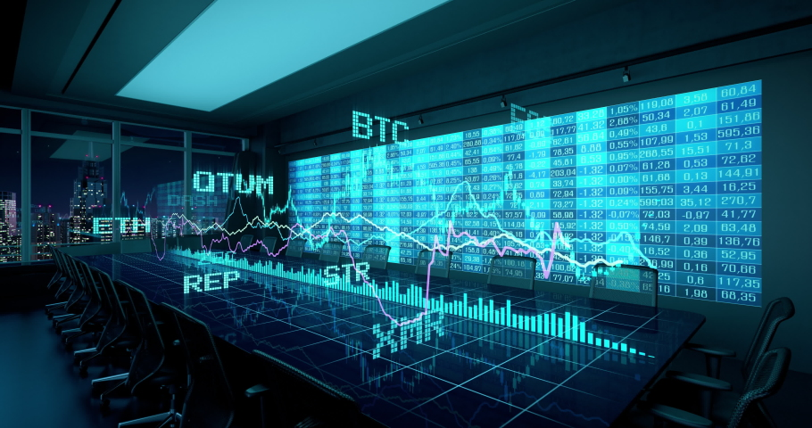 Animated Holographic Charts Financial Statistics on Table in night Office Interior. Cryptocurrency Bitcoin Exchange trading Gambling concept seamless looping 4K video 3d rendering.