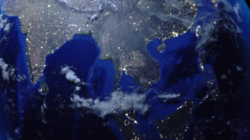 Zoom out of Thailand through clouds to see the Earth from space.