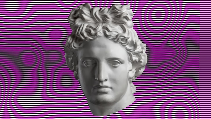 Vaporwave style animation with a antique statue head and glitch art effect background. | Shutterstock HD Video #1037983121